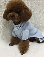 Dog Sweater Dog Clothes Casual/Daily Solid Light Blue