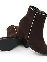 Femme Chaussures Cuir Nubuck Cuir Automne Hiver Bottes à la Mode boîtes de Combat Bottes Gros Talon Bottine/Demi Botte Pour Décontracté