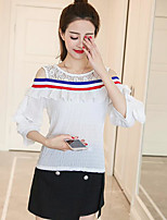 Women's Daily Casual Active Spring Fall Shirt,Solid Round Neck 3/4 Length Sleeves Cotton Thin