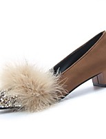 Women's Shoes Cashmere Fall Comfort Heels Chunky Heel Round Toe Feather For Casual Brown Black
