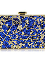 Women Bags All Seasons Metal Evening Bag Flower(s) Sequins for Wedding Event/Party Blue Gold Black Red