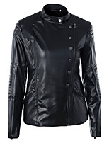 Women's Going out Casual/Daily Simple Street chic Spring Winter Leather Jacket,Solid Stand Long Sleeve Regular PU Polyester