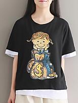 Tee-shirt Femme,Couleur Pleine Imprimé Sortie simple Manches Courtes Col Arrondi Coton