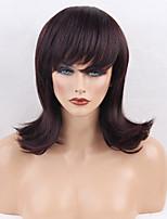 Women Human Hair Capless Wigs Dark Brown/Dark Auburn Black Medium Length Natural Wave Side Part