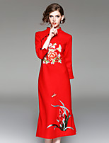 Moulante Robe Femme Sortie Décontracté / Quotidien Chinoiserie,Broderie Mao Midi Manches 3/4 Polyester Automne Hiver Taille Normale Non