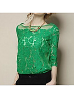 Women's Going out Casual/Daily Simple Summer Fall Blouse,Embroidery Round Neck 3/4 Length Sleeves Acrylic Polyester Medium