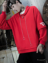 Men's Sports Casual/Daily Hoodie Solid Hooded Micro-elastic Cotton Long Sleeve Spring Fall
