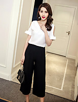 Women's Going out Casual/Daily Simple Summer T-shirt Pant Suits,Solid Round Neck Short Sleeve Micro-elastic