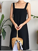 Women's Going out Simple Summer T-shirt Skirt Suits,Solid Boat Neck ¾ Sleeve