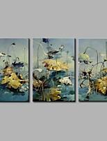 Hånd-malede Abstrakt Kunstnerisk Abstrakt Sej Moderne / Nutidig Kontor/Forretning Jul Nytår Tre Paneler Kanvas Hang-Painted Oliemaleri