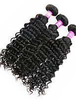 3 Pieces Natural Black Deep Wave Peruvian Human Hair Weaves Hair Extensions
