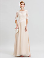 Sheath / Column Illusion Neckline Floor Length Chiffon Lace Mother of the Bride Dress with Appliques by LAN TING BRIDE®
