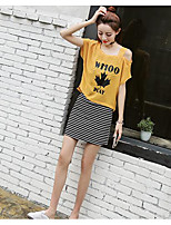 Women's Daily Casual T-shirt,Solid Print Round Neck Half Sleeves Cotton Linen