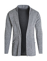 Men's Casual/Daily Simple Regular Cardigan,Solid Shirt Collar Long Sleeves Polyester Fall Medium Micro-elastic
