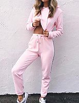 Women's Casual/Daily Simple Fall Hoodie Pant Suits,Solid Hooded Long Sleeve Inelastic