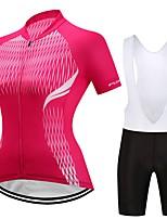 Maillot et Cuissard à Bretelles de Cyclisme Femme Manches Courtes Vélo Ensemble de Vêtements La peau 3 densités Rayure Printemps Eté