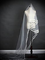 One-tier Wedding Veil Cathedral Veils With Applique Sequin Lace Tulle