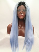 Women Synthetic Wig Lace Front Long Straight Black/Smoke Blue Natural Hairline Halloween Wig Natural Wigs Costume Wig