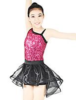 Jazz Leotards Outfits Women's Children's Performance Elastic Lycra Paillette Sleeveless Natural Skirts Leotard Headpieces