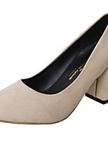 Damen Schuhe Nubukleder Frühling Herbst Komfort High Heels Blockabsatz Spitze Zehe Für Normal Schwarz Grau Rosa Mandelfarben