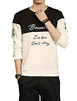 Men's Daily Plus Size Casual Sweatshirt Letter Round Neck Micro-elastic Polyester Spandex Long Sleeve Winter Fall