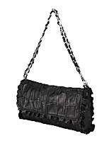 Women Bags Sheepskin Shoulder Bag Buttons Zipper for Event/Party Office & Career All Seasons Black