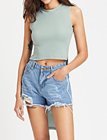 Women's Going out Club Casual Street chic Summer Fall Tank Top,Solid Round Neck Sleeveless Polyester Medium