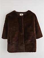 Girls' Solid Jacket & Coat,Cotton Winter ¾ Sleeve