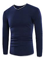 Men's Casual/Daily Work Regular Pullover,Solid V Neck Long Sleeves Polyester Fall Winter Medium Micro-elastic