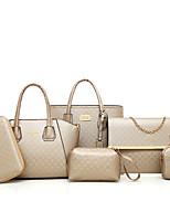 Women Bags All Seasons PU Bag Set 6 Pieces Purse Set Zipper for Casual Blue Gold Black Red