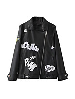 Women's Going out Casual/Daily Simple Active Street chic Spring Fall Leather Jacket,Print Letter Shirt Collar Long Sleeve Regular Others