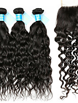 Human Hair Peruvian One Pack Solution Water Wave Hair Extensions Four-piece Suit Black