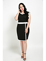 Cute Ann Women's Party Plus Size Sexy Vintage Street chic Shift Sheath Black and White Dress,Color Block Patchwork Round Neck Midi Knee-length