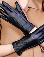 Women's PU Leather Wrist Length Fingertips,Pure Accessories Casual Winter Gloves Windproof Keep Warm Waterproof Fashion Solid Winter