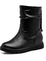 Femme Chaussures Similicuir Printemps Hiver Bottes à la Mode Bottes Talon Compensé Bout rond Bottine/Demi Botte Points Polka Pour