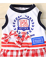 Dog Dress Vest Dog Clothes Casual/Daily British White Red Costume For Pets