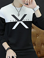 Men's Going out Sweatshirt Color Block Round Neck Micro-elastic Others Long Sleeve Spring