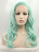Women Synthetic Wig Lace Front Medium Length Long Curly Wavy Mint Green Lolita Wig Party Wig Celebrity Wig Halloween Wig Carnival Wig