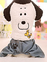 Chien Manteaux Pantalons Vêtements pour Chien Garder au chaud Nouvel An Dessin-Animé Blanc Costume Pour les animaux domestiques