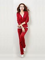 Mulheres Conjunto de Sutiã Esportivo com Calça Manga Longa Suavidade Blusas Calças Conjuntos de Roupas para Correr Cooper Veludo Poliéster