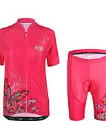 Camisa com Shorts para Ciclismo Mulheres Manga Curta Moto Conjuntos de Roupas Leve Terylene LYCRA® Animal Verão Ciclismo/Moto Exterior