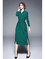 SHE IN SUN Women's Daily Work Casual Street chic Shirt Dress,Solid Shirt Collar Midi Long Sleeves Polyester Winter Fall Mid Rise Inelastic Medium