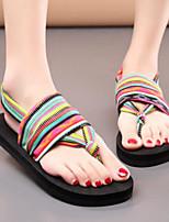 Women's Shoes Fabric Summer Comfort Slippers & Flip-Flops Flat Heel For Casual Black Rainbow