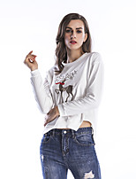 Women's Daily Holiday Winter Fall T-shirt,Embroidery Round Neck Long Sleeves Cotton Thin