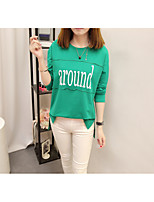 Women's Daily Work Cute Casual Sophisticated Winter Fall T-shirt,Solid Letter Round Neck Long Sleeves Cotton Rayon Polyester Medium