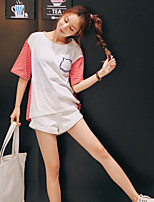 Women's Going out Casual T-shirt,Striped Color Block Round Neck Short Sleeves Cotton