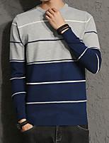 Standard Pullover Da uomo-Casual Taglie forti Semplice A strisce Monocolore Rotonda Manica lunga Cotone Poliestere Primavera Autunno