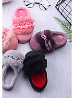 Girls' Shoes Feather/ Fur Fall Winter Comfort Flats For Casual Blushing Pink Peach Purple Gray Black