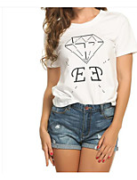 Women's Daily Casual T-shirt,Print Round Neck Short Sleeves Others