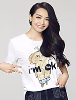 Women's Daily Casual T-shirt,Solid Animal Print Letter Round Neck Short Sleeves Cotton